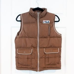 FILA Sport Puffer Ski Vest Brown Winter Full Zip